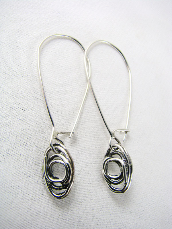 Fused Oval Earrings on Long Wire