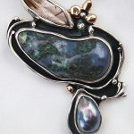 Rutilated Quartz, Agate, Grey pearl , Silver and 14k Gold Brooch