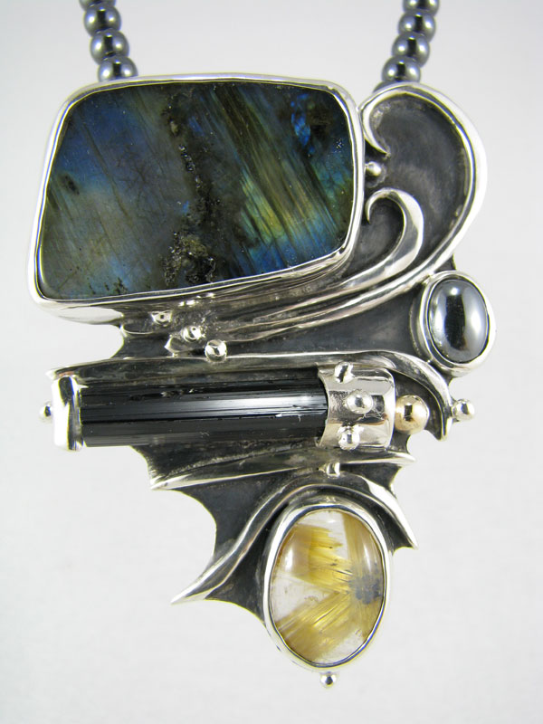 Labradorite with Star Rutilated Quartz Pendant