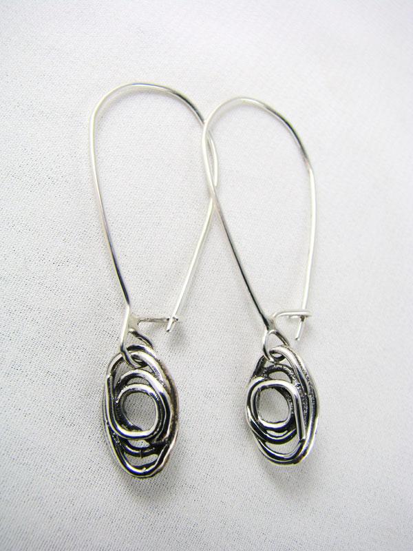 Fused Oval Earrings on Long Wire