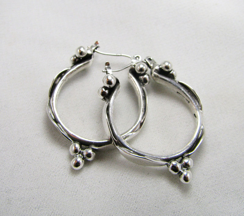 Large Leaf & Berry Hoop Earrings