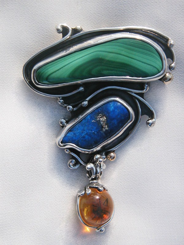 Malachite, Lapis, Amber with bug , Silver and 14k Gold Brooch