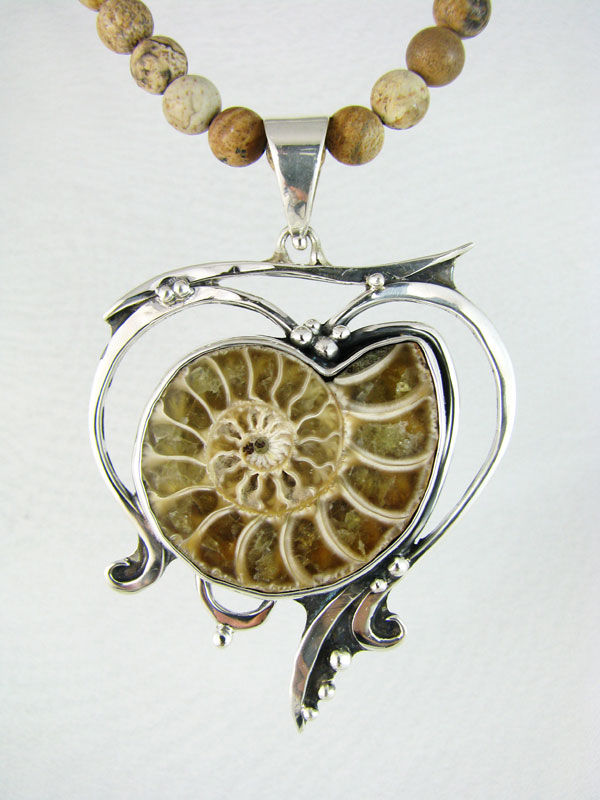 Ammonite Open Design Fossil Pendant