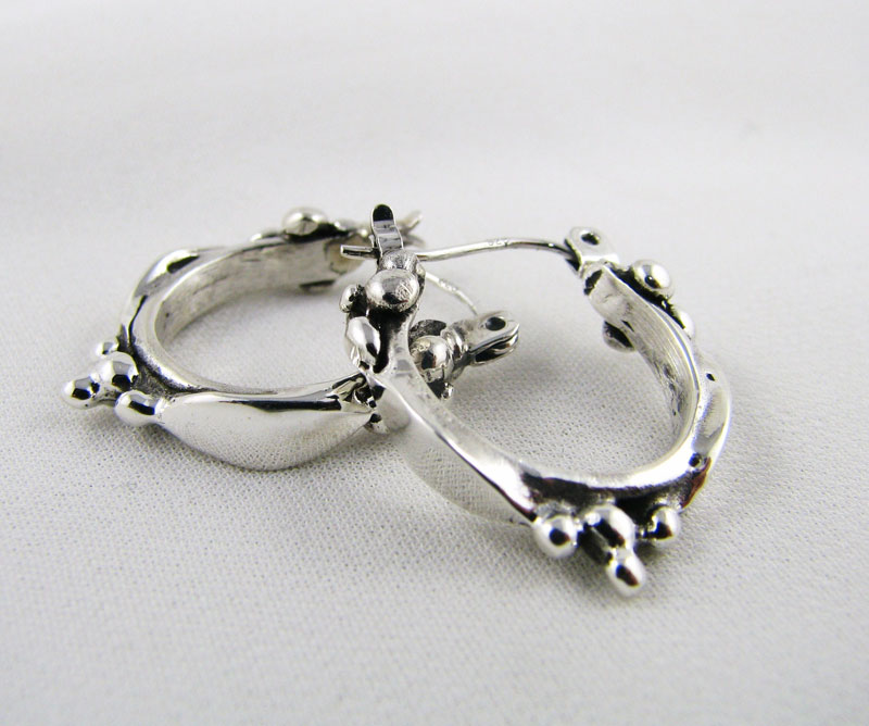Small Leaf & Berry Hoop Earrings